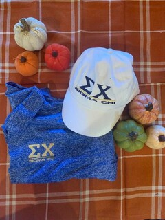 The New Super Savings - Sigma Chi Polo and Baseball Hat Set - BLUE AND WHITE