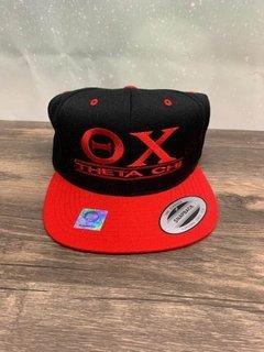 The New Super Savings - Theta Chi Flatbill Snapback Hat Original - BLACK