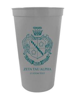 Zeta Tau Alpha Custom Greek Crest Letter Stadium Cup