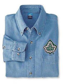 DISCOUNT-Alpha Kappa Alpha Denim Shirt - Ivy