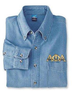 DISCOUNT-Alpha Phi Alpha Denim Shirt - Signature Emblem