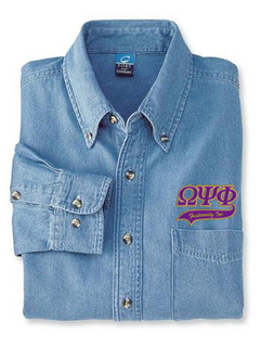 DISCOUNT-Omega Psi Phi Denim Shirt - Tail