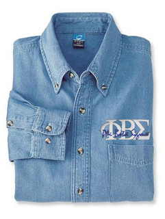 DISCOUNT-Phi Beta Sigma Denim Shirt - Letters