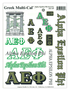 Alpha Epsilon Phi Multi Greek Decal Sheet
