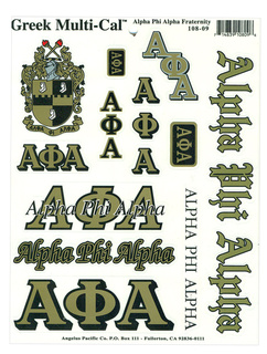 Alpha Phi Alpha Multi Greek Decal Sticker Sheet
