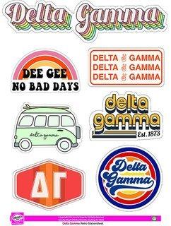 Delta Gamma Retro Sticker Sheet