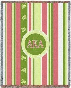 Alpha Kappa Alpha Stripe Afghan Blanket