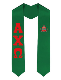 Alpha Chi Omega Greek Lettered Graduation Sash Stole With Crest