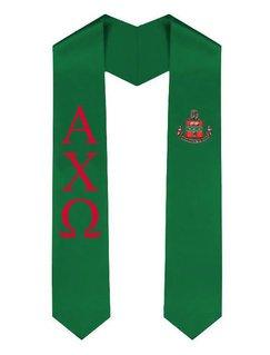 Alpha Chi Omega Greek Lettered Graduation Sash Stole With Crest