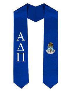 Alpha Delta Pi Greek Lettered Graduation Sash Stole With Crest