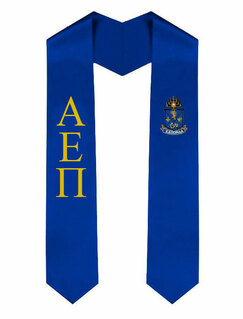 Alpha Epsilon Pi Greek Lettered Graduation Sash Stole With Crest
