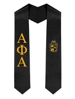 Alpha Phi Alpha Greek Lettered Graduation Sash Stole With Crest
