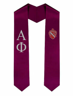 Alpha Phi Greek Lettered Graduation Sash Stole With Crest