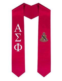 Alpha Sigma Phi Greek Lettered Graduation Sash Stole With Crest