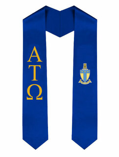 Alpha Tau Omega Greek Lettered Graduation Sash Stole With Crest