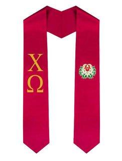 Chi Omega Greek Lettered Graduation Sash Stole With Crest