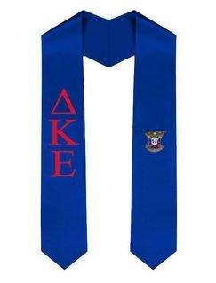 Delta Kappa Epsilon Greek Lettered Graduation Sash Stole With Crest