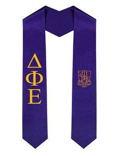 Delta Phi Epsilon Greek Lettered Graduation Sash Stole With Crest