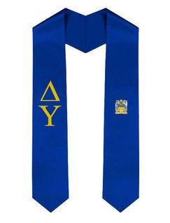 Delta Upsilon Greek Lettered Graduation Sash Stole With Crest