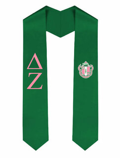 Delta Zeta Greek Lettered Graduation Sash Stole With Crest