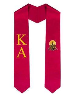 Kappa Alpha Greek Lettered Graduation Sash Stole With Crest