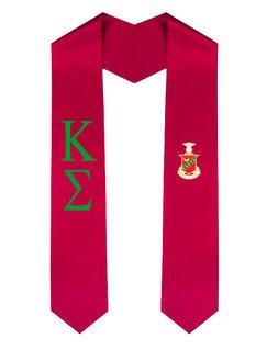 Kappa Sigma Greek Lettered Graduation Sash Stole With Crest