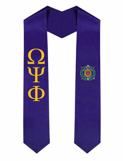 Omega Psi Phi Greek Lettered Graduation Sash Stole With Crest