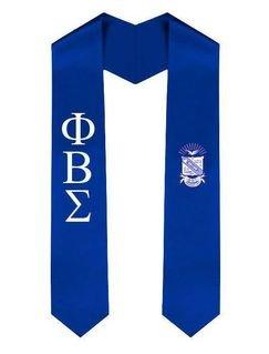 Phi Beta Sigma Greek Lettered Graduation Sash Stole With Crest
