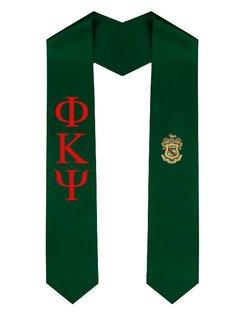 Phi Kappa Psi Greek Lettered Graduation Sash Stole With Crest