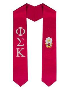 Phi Sigma Kappa Greek Lettered Graduation Sash Stole With Crest