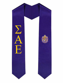 Sigma Alpha Epsilon Greek Lettered Graduation Sash Stole With Crest
