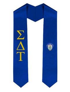 Sigma Delta Tau Greek Lettered Graduation Sash Stole With Crest