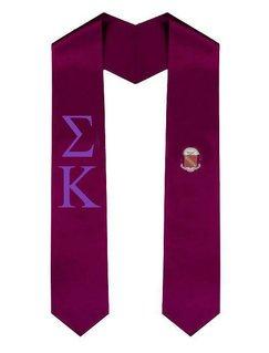 Sigma Kappa Greek Lettered Graduation Sash Stole With Crest