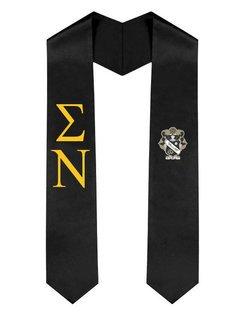 Sigma Nu Greek Lettered Graduation Sash Stole With Crest