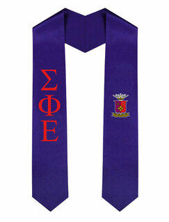 Sigma Phi Epsilon Greek Lettered Graduation Sash Stole With Crest