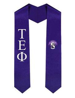 Tau Epsilon Phi Greek Lettered Graduation Sash Stole With Crest