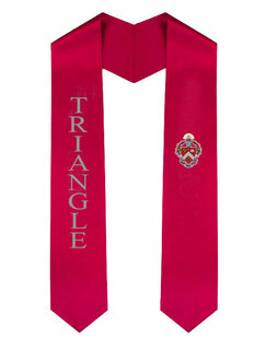 Triangle Greek Lettered Graduation Sash Stole With Crest