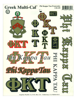Phi Kappa Tau Multi Greek Decal Sticker Sheet