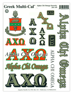 Alpha Chi Omega Multi Greek Decal Sheet