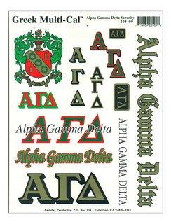 Alpha Gamma Delta Multi Greek Decal Sheet