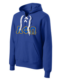 DISCOUNT-Alpha Phi Omega Lace Up Pullover Hooded Sweatshirt