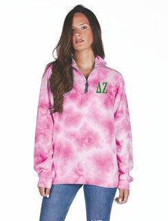 Delta Zeta Crosswind Tie-Dye Quarter Zip Sweatshirt