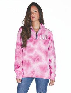 Gamma Phi Beta Crosswind Tie-Dye Quarter Zip Sweatshirt