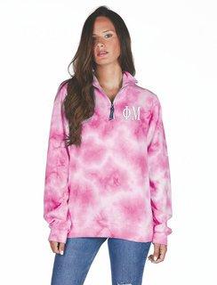 Phi Mu Crosswind Tie-Dye Quarter Zip Sweatshirt