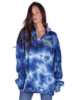 Sigma Delta Tau Crosswind Tie-Dye Quarter Zip Sweatshirt