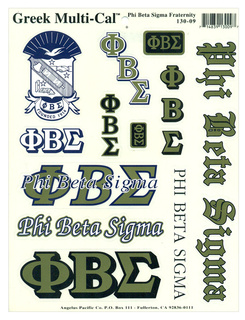 Phi Beta Sigma Multi Greek Decal Sticker Sheet