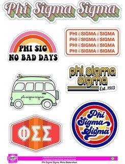 Phi Sigma Sigma Retro Sticker Sheet