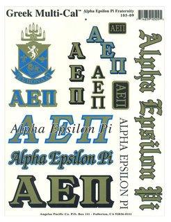 Alpha Epsilon Pi Multi Greek Decal Sticker Sheet