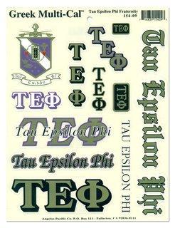 Tau Epsilon Phi Multi Greek Decal Sticker Sheet