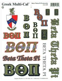 Beta Theta Pi Multi Greek Decal Sticker Sheet